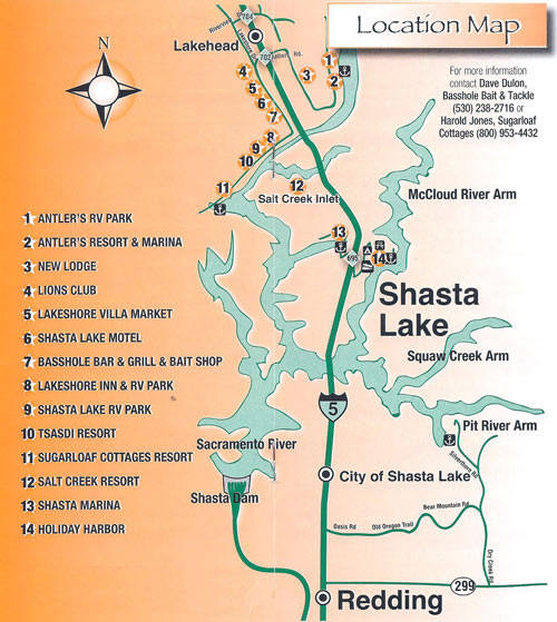 Shasta Lake Trout Derby Location Map